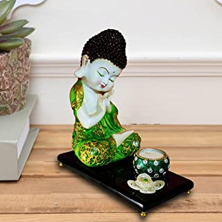 Sacred Blessings Polyresin Green Baby Buddha Statue Showpiece Idol for Home Decor (20 x 10 x 22) cm, 1 Set