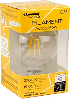 Luminus PLYC3296A PLF1542 Filament G25-7.5W (60W) 800 Lumens Warm White 2700K Dimmable LED Light Bulb-6 Pack