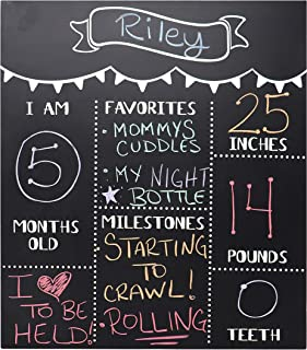 JennyGems Chalkboard Sign Baby Milestone Months For Use With Actual Dry Chalk Monthly Baby Photo Props - (Use Actual Dry Chalk. Do Not Use Chalk Markers) - For Babies and Infants