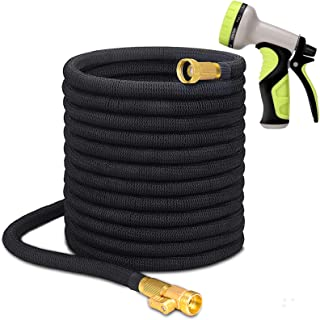 Higen 100ft Garden Hose Set, Extra Strength Fabric Triple Layer Latex Core, 3/4 Solid Brass Fittings, 9 Function Spray Noz...