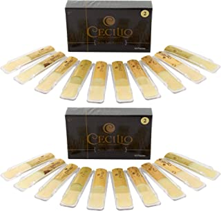 Cecilio Alto Saxophone Reeds, TWO 10-pack with Individual Plastic Case, Strength 2.0..