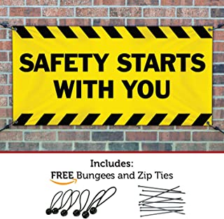 HALF PRICE BANNERS | Safety Starts with You Vinyl Banner-Indoor/Outdoor 2X4 Foot-Yellow | Includes Bungees & Zip Ties | Easy Hang-Made in USA