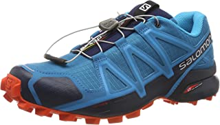 Salomon Speedcross 4 - Men's Men's Trail Running Shoes, Fjord Blue/Navy Blazer/Cherry Tomato