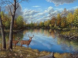 buyartforless Autumn Along The Wildcat by Robert Wavra 18x24 Landscape Graphic Art Canvas, Brown