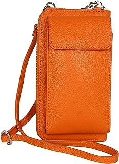 AmbraModa GLX21 - multifunktionale Damen Handytasche, Umhängetasche, Geldbörse aus echtem Leder, geeignet für Handys bis ...