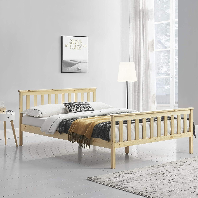 Holzbett 180x200cm mit Hohem Kopfteil und Lattenrost Naturholz Bettgestell Bett Kiefernholz Doppelbett Ehebett en.casa