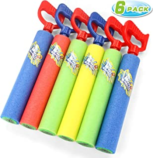 Fun-Here Water Guns Shooter 6 Pack, Super Foam Soakers Blaster Squirt Guns, Pool Noodles Toy with Plastic Handle Summer Sw...