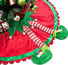 TANGJING 60 inch Big Size! Elf Christmas Tree Skirt with Candy Striped Legs and Ripple Trim Border for Xmas Elves Themed D...