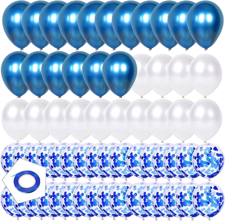 Globos Metalizados,Globo Látex Metálico,Globos de Fiesta de Diversos Colores,Globos Metalizados Azul,Globos de Confeti Azul,Globos de metal blanco y Azul (Azul)