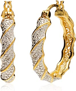 Plated Bronze Diamond Accent Twisted Hoop Earrings