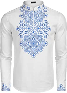 Men's Slim Fit Hippie Shirt Long Sleeve Floral Print Casual Zip Up Cotton Beach Party Henley T Shirt
