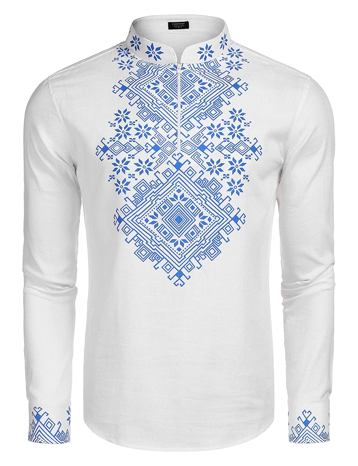 COOFANDY Mens Slim Fit Hippie Shirt Long Sleeve Floral Print Casual Zip Up Cotton Beach Party Henley T Shirt