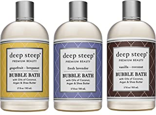 Deep Steep Bubble Bath Bundle Pack 1 each: Grapefruit Bergamot, Vanilla Coconut and Fresh Lavender 17 ounce (Pack of 3)