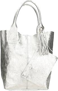 Aren - Bolso de mano de mujer de piel auténtica, fabricado en Italia, 42 x 35 x 15 cm
