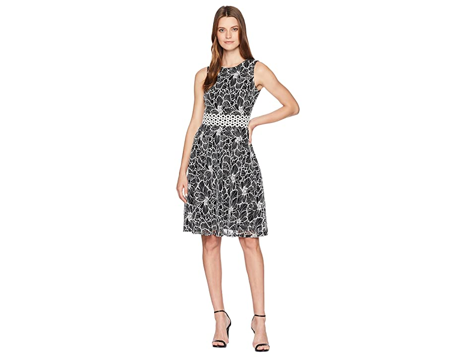 Taylor Embroidered Lace Floral Cinched At Waist Dress (Black/Ivory) Women