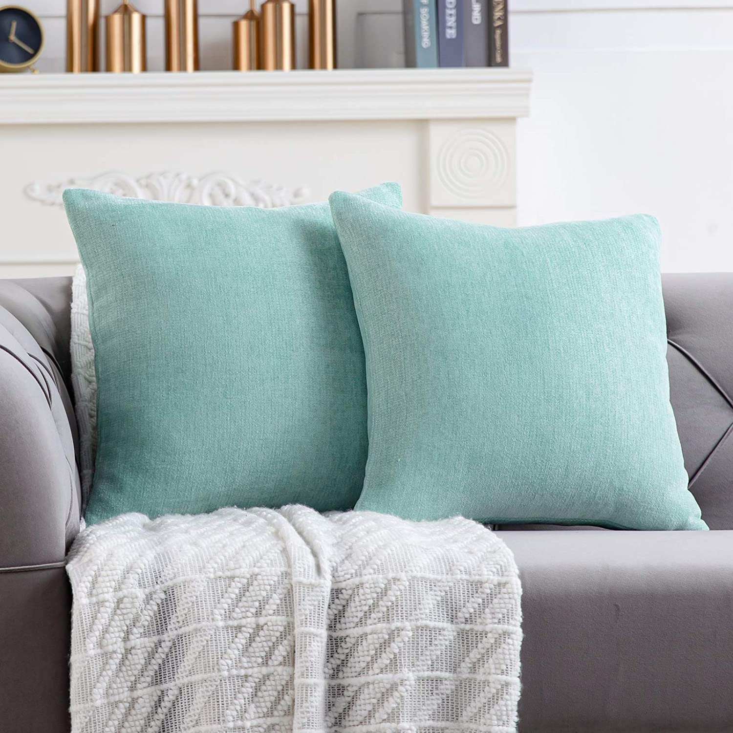 Anickal Mint Green Pillow Covers 18x18 Inch Set of 2 Solid Rustic Farmhouse Decorative Throw Pillow Covers Square Cushion Case for Home Sofa Couch Decoration