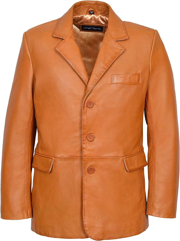 Classic Blazer Men's TAN Tailored Soft Real Napa Leather Jacket Coat 865