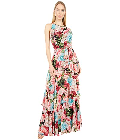 Tahari by ASL Printed Chiffon Tierd Long Maxi Dress (Black/Pink Floral) Women