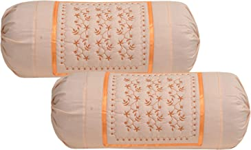 HSR Collection Embroidered Cotton Bolster Round Pillow Covers (Pack of 2, Orange)