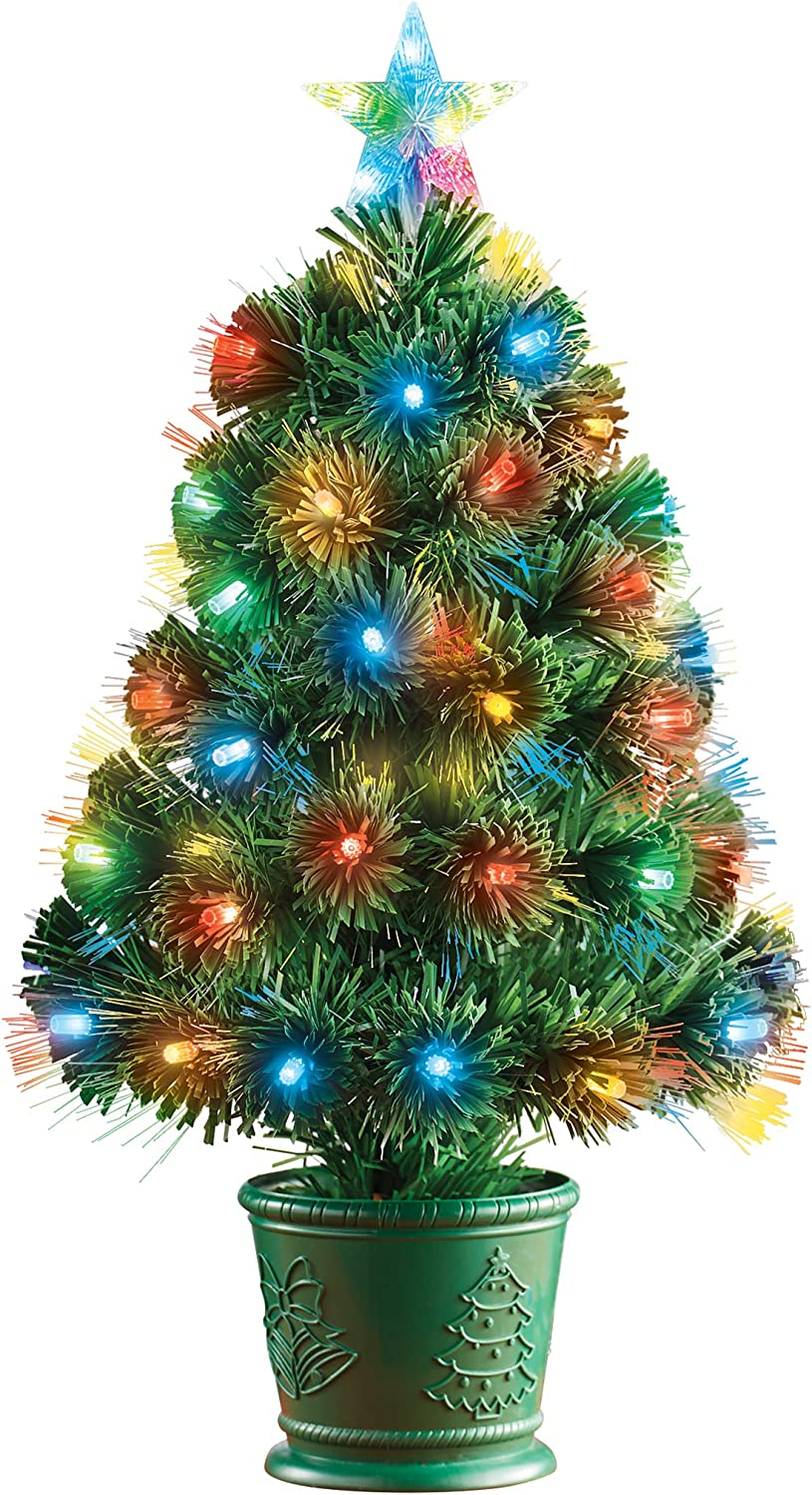 Collections Etc 35% OFF 24 Inch LED Tabletop Lighted Fiber Christm Optic Chicago Mall