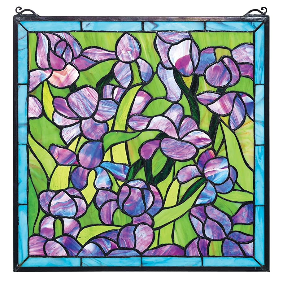 Design Toscano Van Gogh Saint-Remy Irises Stained Glass Window Hanging Panel, 17 Inch, Purple Iris