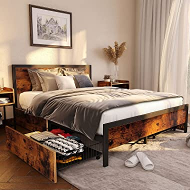 Rolanstar Queen Bed Frame with Headboard and 4 Drawers, Metal Platform Bed with Large Storage Space, Mattress Foundation / No