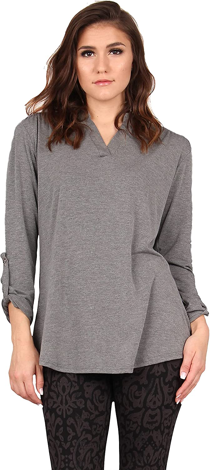 Lildy Women's Roll Up Inventory cleanup selling sale Sleeve Stretchable Pul At the price Casual Tunic Loose