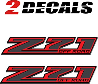 TiresFX Chevy Silverado Z71 Offroad RED Truck Stickers Decals - 2014-2019 Bedside (Set of 2)