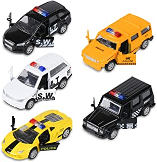 KIDAMI Die Cast Metal Little Toy Cars Set of 5, Openable Doors Pull Back Car Gift Pack for Kids (Police car)