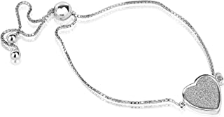 Quality Jewels Sterling Silver Cubic Zirconia Adjustable Love Bracelet with Center CZ Filled Heart Charm