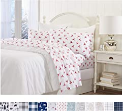 Great Bay Home Extra Soft Reindeer 100% Turkish Cotton Flannel Sheet Set. Warm, Cozy, Luxury Winter Bed Sheets. Belle Collection (Twin XL, Reindeer)