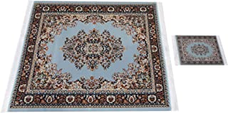 Inusitus Set of Placemat and Coaster Combo - Woven Carpet Dining Table Placemat with Matching Drink Coaster - Home Furnishings Decor - Turquoise