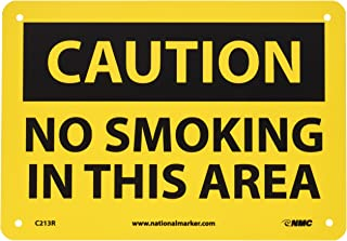 NMC C213R CAUTION - NO SMOKING IN THIS AREA Sign - 10 in. x 7 in., Black Text on Yellow, Plastic Caution Sign