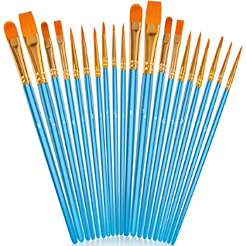 Soucolor Acrylic Paint Brushes Set, 20Pcs Artist Paintbrushes Paint Brushes for Acrylic Oil Watercolor, Canvas Body Face Rock Painting Kit, Fine Detail Miniature, Adult/Kids Arts Crafts Supplies, blue
