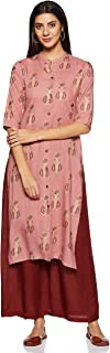 Appirant Women's Rayon Front Slit Kurta with Palazzo Set (Dark Pink)