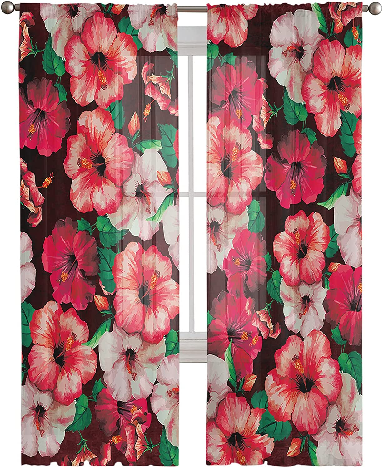 Watercolor Floral Semi Bombing free shipping Sheer Linen Half Be super welcome Curtain Transparent Win