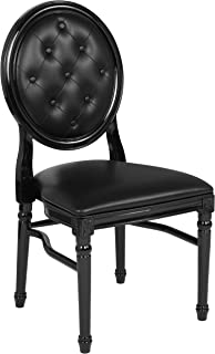 Flash Furniture HERCULES Series 900 lb. Capacity King Louis Chair with Tufted Back, Black Vinyl Seat and Black Frame