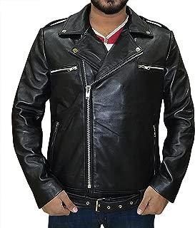 Genuine Lambskin Biker Black Leather Jacket - Motorcycle Mens Leather Jacket