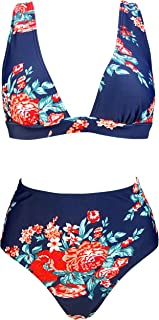 b979f76d84 COCOSHIP Women s Retro Lush Floral High Waisted Bikini Set Deep V-Neckline  Top Concise Swimsuit