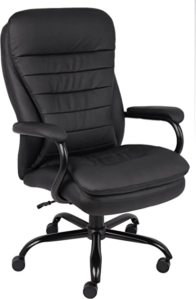 Boss Office Products B991 CP Heavy Duty Double Plush LeatherPlus Chair With 350lbs Weight Capacity In Black