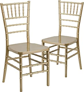 Flash Furniture 2 Pk. HERCULES PREMIUM Series Gold Resin Stacking Chiavari Chair