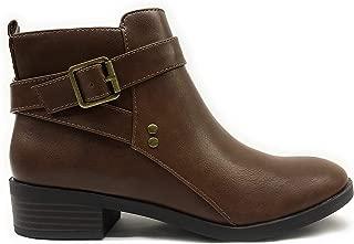 City Classified Women's Closed Toe Zipper Tassel Low Heel Ankle Boot (7 M US, Cognac PU Catch)