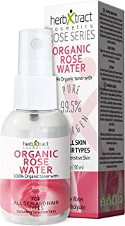 Organic Rose Water Toner with Collagen - 100% Pure Natural Bulgarian Rosewater Moisturizer for Face with Spray No additives Travel Size 1.7 Fluid Ounces by HerbXtract