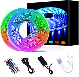Led Strip Lights 32.8ft 10m Color Changing Non Waterproof LED String Lights with SMD 5050 RGB 300 LEDs Light Strips and 44 Keys IR Remote 12V Power Supply for Home, Bedroom, Kitchen, Christmas,