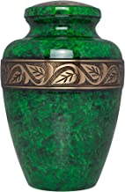 Liliane Memorials Green Cremation Urn - Funeral Urn for Human Ashes - Hand Made in Brass - Suitable for Cemetery Burial or Niche - Large Size fits Remains of Adults up to 200 lbs - Esmeralda