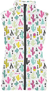 Rainbow Rules Colorful Cacti Womens Puffer Vest Bodywarmer Gilet