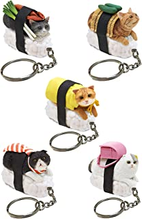Sushi Cat Clever Idiots Nekozushi Keychain - Blind Box Includes 1 of 5 Collectable Figurines - Features a Detachable Keyring (Version 1)