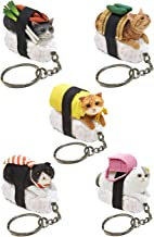 Sushi Cat Clever Idiots Nekozushi Keychain - Blind Box Includes 1 of 5 Collectable Figurines - Features a Detachable Keyring - Authentic Japanese Design (Version 1)