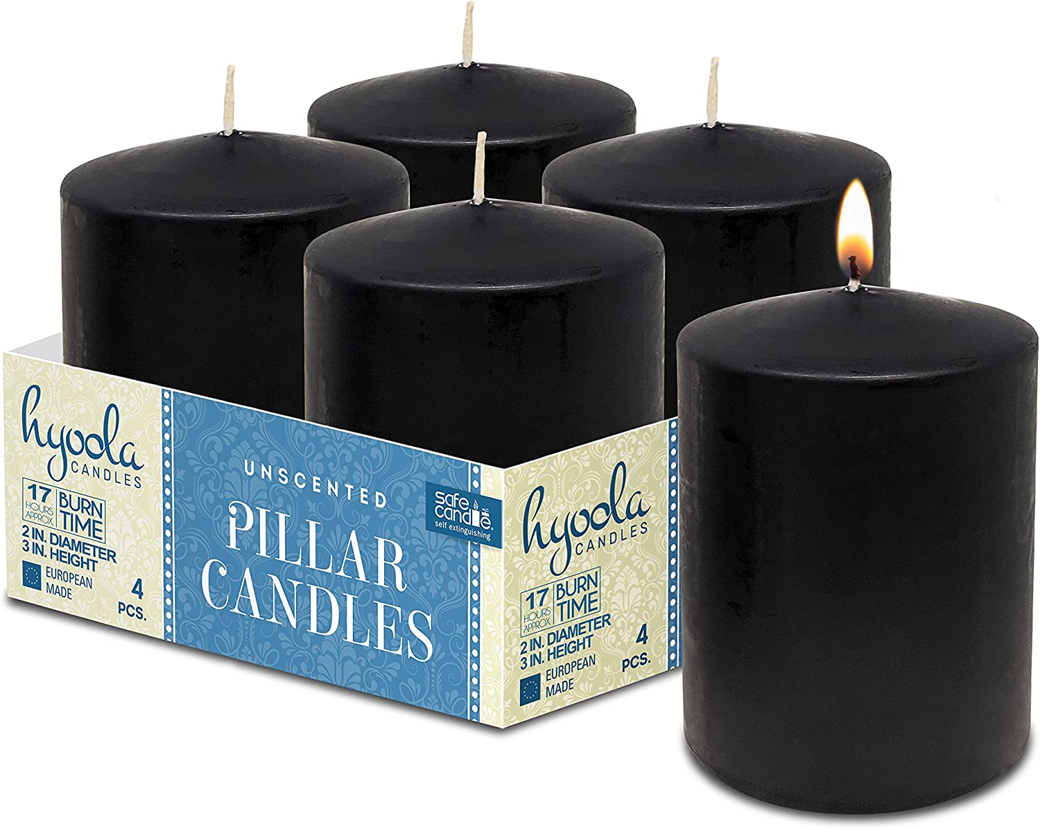 Dallas Mall Hyoola Black Pillar Candles 2x3 Inch Department store Unscented 4 C Pack -