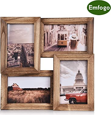Emfogo 4x6 Picture Frames Wood Collage Picture Frames with High Definition Glass Multi Rustic Photo Frames for Wall and Desk Display Carbonized Black